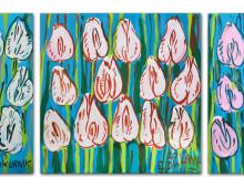 Tulipany (białe, żółte, niebieskie) – tryptyk