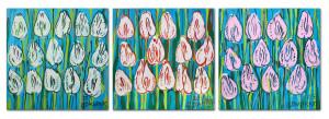 Tulipany (białe, żółte, niebieskie) - tryptyk